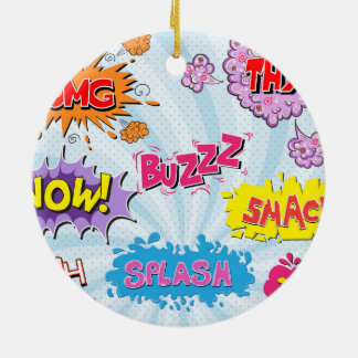 Comic Style Girly Super Hero Design Round Ceramic Ornament
