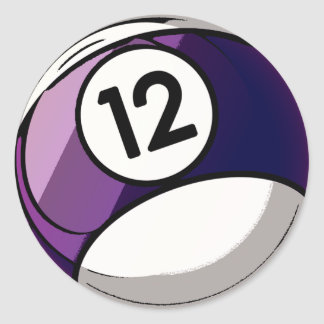 Comic Style Number 12 Billiards Ball Classic Round Sticker