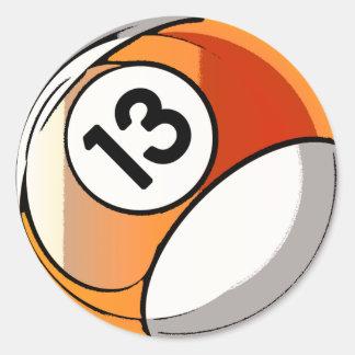 Comic Style Number 13 Billards Ball Round Sticker
