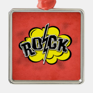 Comic style rock illustration metal ornament