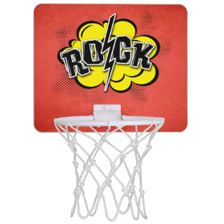 Comic style rock illustration mini basketball hoop