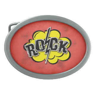 Comic style rock illustration oval belt buckles