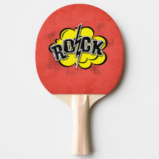 Comic style rock illustration ping pong paddle