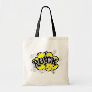 Comic style rock illustration tote bag