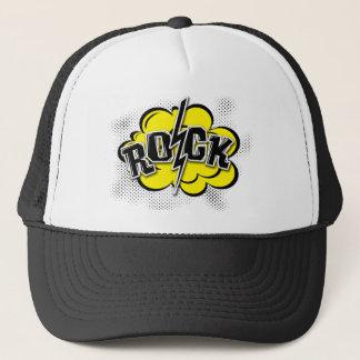 Comic style rock illustration trucker hat