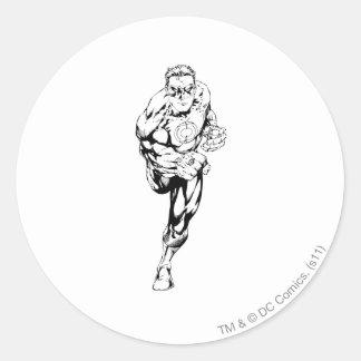 Comic Style - Running, Black and White Round Sticker