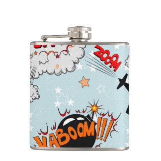 Comic Style Super Hero Design Hip Flask