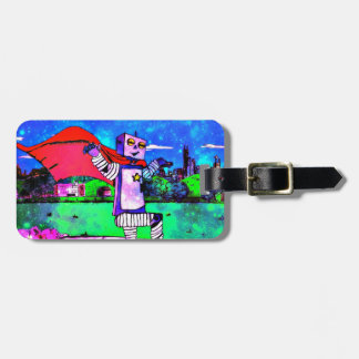 Comic Style Superhero Robot from Outer Space! Luggage Tag