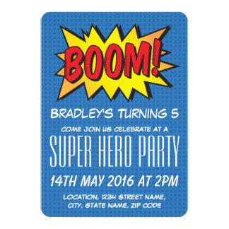 "Comic Super Hero Blue Personalized Kids Birthday 5"" X 7"" Invitation Card"