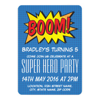 Comic Super Hero Blue Personalized Kids Birthday 13 Cm X 18 Cm Invitation Card