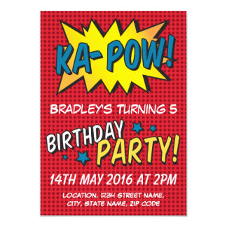 "Comic Super Hero Red Personalized Kids Birthday 5"" X 7"" Invitation Card"