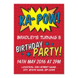 Comic Super Hero Red Personalized Kids Birthday 13 Cm X 18 Cm Invitation Card