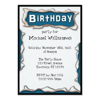 Comic Torn Paper Blue Birthday Invitations