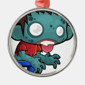 Comic Zombie Boy Silver-Colored Round Ornament