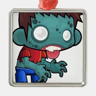 Comic Zombie Boy Silver-Colored Square Ornament