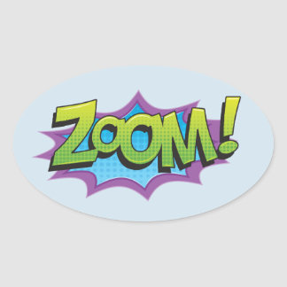 Comic Zoom! Oval Sticker