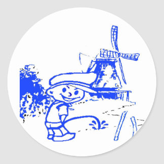 Comical Dutch Boy Classic Round Sticker