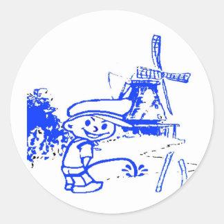 Comical Dutch Boy Round Sticker