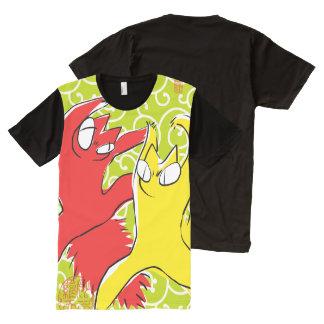 Comical funny quarrel cat Asian illustration All-Over-Print T-Shirt