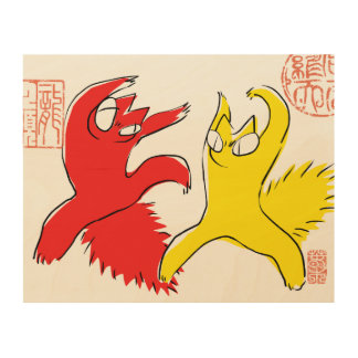 Comical funny quarrel cat Asian illustration Wood Wall Art
