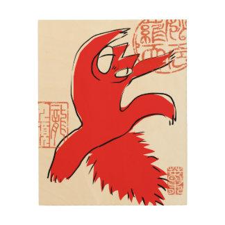 Comical funny quarrel cat Asian illustration Wood Wall Decor
