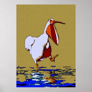 Comical Marching Pelican Louisiana Poster