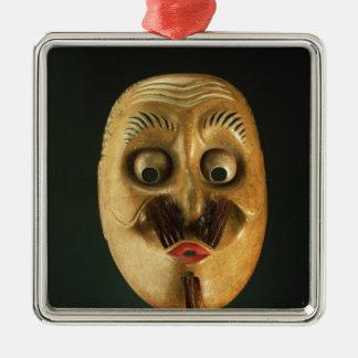 Comical Mask, Noh Theatre Silver-Colored Square Ornament