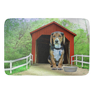 Comical Sandy Creek Covered Bridge Dog House Bath Mat