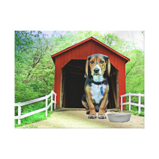 Comical Sandy Creek Covered Bridge Dog House Canvas Print