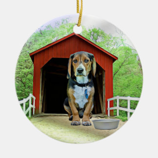 Comical Sandy Creek Covered Bridge Dog House Ceramic Ornament