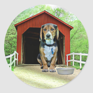 Comical Sandy Creek Covered Bridge Dog House Classic Round Sticker