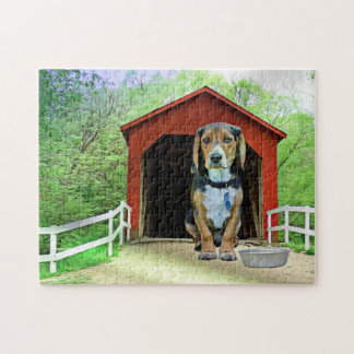 Comical Sandy Creek Covered Bridge Dog House Jigsaw Puzzle