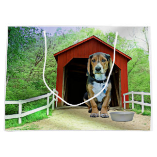 Comical Sandy Creek Covered Bridge Dog House Large Gift Bag