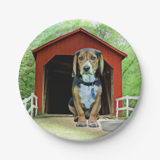 Comical Sandy Creek Covered Bridge Dog House Paper Plate