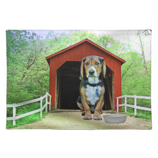 Comical Sandy Creek Covered Bridge Dog House Placemat