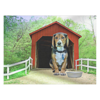 Comical Sandy Creek Covered Bridge Dog House Tablecloth