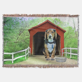 Comical Sandy Creek Covered Bridge Dog House Throw Blanket