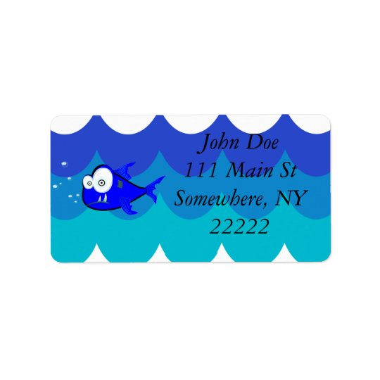 Comical Shark Swimming in the Waves Label