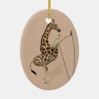 Comical Sporty Giraffe Ceramic Oval Ornament