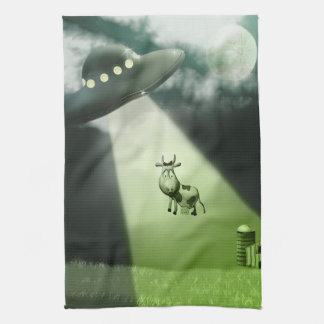 Comical UFO Cow Abduction Kitchen Towels