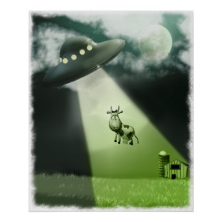 Comical UFO Cow Abduction Poster