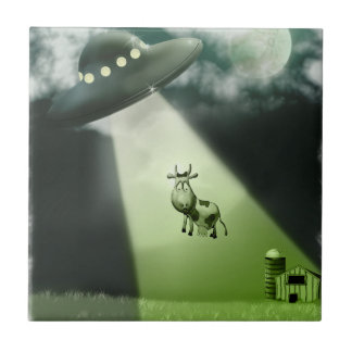 Comical UFO Cow Abduction tile