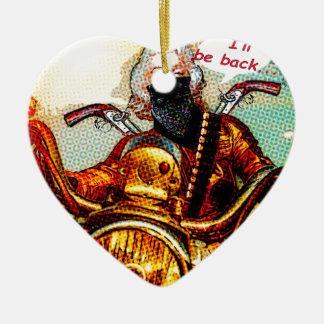 comics biker big ceramic heart ornament