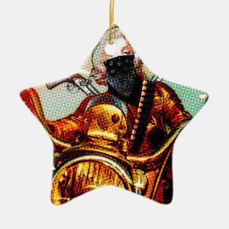 comics biker big ceramic star ornament