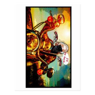 comics biker big postcard