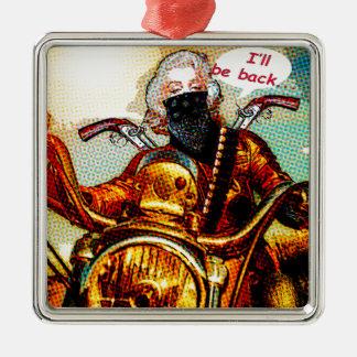 comics biker big Silver-Colored square ornament