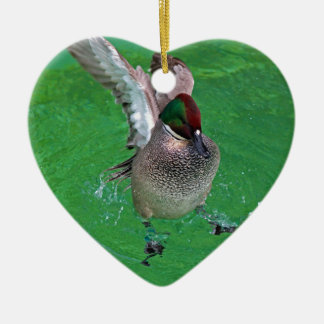 Coming in for a Landing Ceramic Heart Ornament