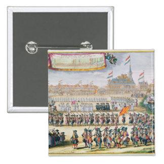 Commemoration of the Peace of Rijswijk, 1697 2 Inch Square Button