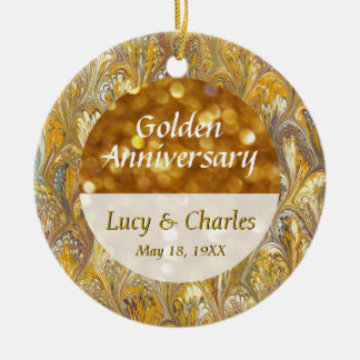 Commemorative 50th Golden Anniversary Photo Double-Sided Ceramic Round Christmas Ornament