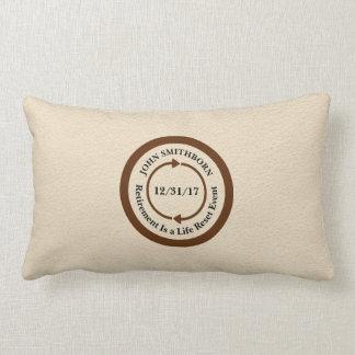Commemorative Brown on Cream Retirement Keepsake Lumbar Pillow
